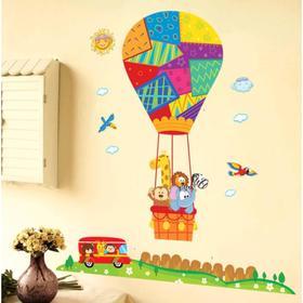 """Наклейка пластик интерьерная цветная """"Воздушный шар и звери"""" 60х90 см"""