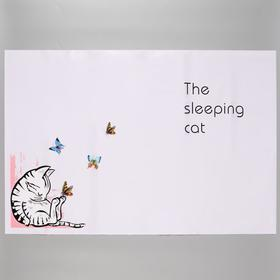 """Sticker on the tile """"Sleeping kitten"""" 60x90 cm"""