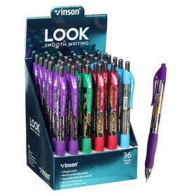 Ручка шариковая автоматическая 0,7мм синяя масляная,Vinson корпус МИКС резиновым держателем,штрихкод