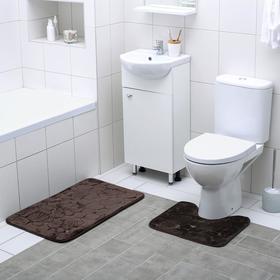 Набор ковриков для ванны и туалета Доляна «Галька, ракушки», 2 шт: 40×50, 50×80 см