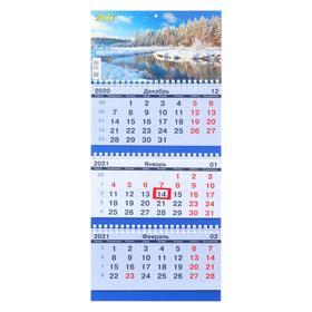 """Calendar quarterly trio-economy """"Nature, 2021-29"""", 20x47 cm"""
