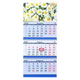 """Calendar quarterly trio-economy """"Daisies, 2021-171"""", 20x47 cm"""