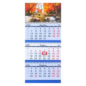 """Calendar quarterly trio-economy """"Nature, 2021-15"""", 20x47 cm"""