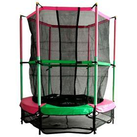 """Батут DFC JUMP KIDS 55"""", d=137 см, с внутренней защитной сеткой, цвет зелёный/розовый"""