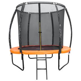 Батут DFC KENGOO II 5 ft, d=152 см, с внутренней защитной сеткой и лестницей, цвет оранжевый/чёрный