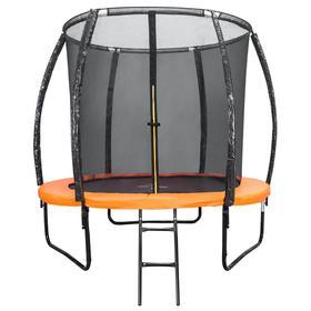 Батут DFC KENGOO II 8 ft, d=244 см, с внутренней защитной сеткой и лестницей, цвет оранжевый/чёрный
