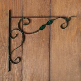 """Bracket for planters, forged, 30 cm, metal, green, """" Wave»"""