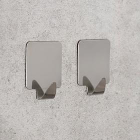 Набор крючков на липучке «Квадрат», 2 шт, металл Ош