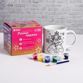 """Set of mug-heart, under the coloring """"Fairy"""" paint 6 colors of 2.5 ml, brush"""