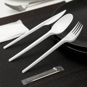 Набор одноразовых столовых приборов 5 в 1, вилка + ложка + нож + салфетка + зубочистка