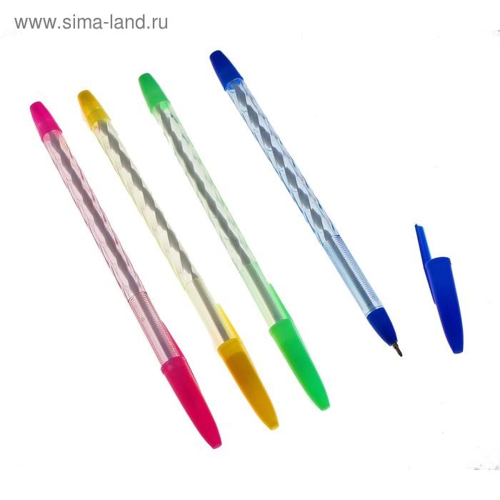 """Ручка шариковая """"Спираль"""" с колпачком МИКС, стержень синий"""