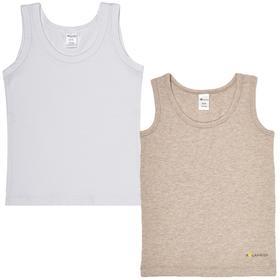 Майка для мальчика, рост 128-134 см, цвет белый, бежевый меланж, 2 шт в уп.