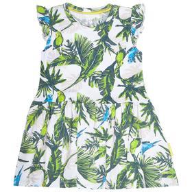 Платье для девочки, рост 128 см, принт попугаи
