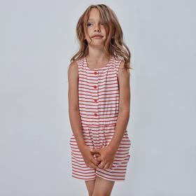 Полукомбинезон для девочки, рост 110 см, принт красная полоска