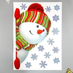 """Наклейки Decoretto """"Большой снеговик выглядывает"""" 35х50 см"""