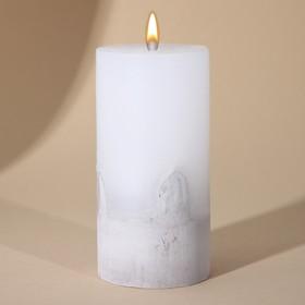 Свеча интерьерная белая с бетоном, 10 х 5 см