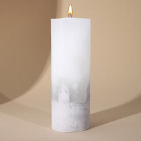 Свеча интерьерная белая с бетоном, 14 х 5 см