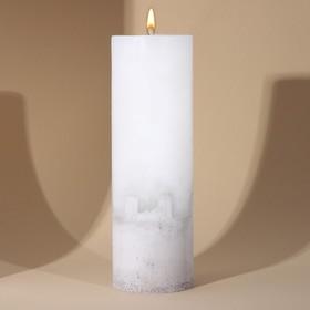Свеча интерьерная белая с бетоном, 26 х 8,5 см