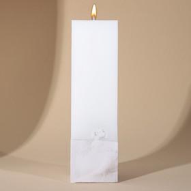 Свеча интерьерная белая с бетоном, 5 х 5 х18 см
