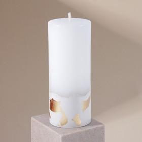 Свеча интерьерная белая с бетоном (поталь), 15 х 6 см