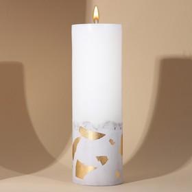 Свеча интерьерная белая с бетоном (поталь), 26 х 8,5 см