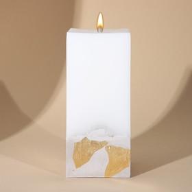 Свеча интерьерная белая с бетоном (поталь), 6 х 6 х 14 см