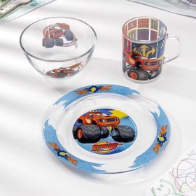 Набор посуды «Вспыш и чудо-машинки», 3 предмета