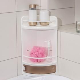 Полка для ванной угловая, 19×19×46,5 см, цвет тонированный