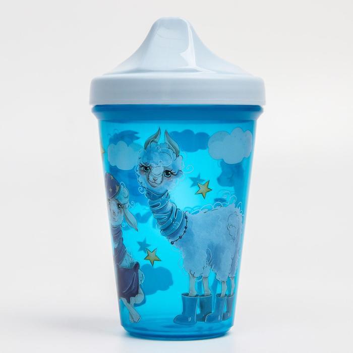Поильник с декором, 350 мл., цвет синий - фото 2130485