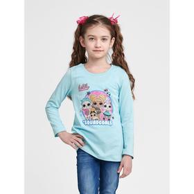 Футболка LOL с длинным рукавом для девочек «Блеск», рост 128 см, цвет бирюза