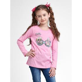 Футболка LOL с длинным рукавом для девочек «Очки», рост 122 см, цвет розовый