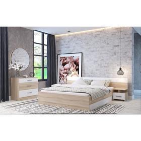 Спальня Леси, кровать 1600, тумбы 2 шт, комод, Дуб сонома/Белый