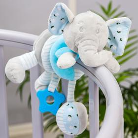 """Stretch-spiral soft with a rattle on the crib / stroller """" Elephant blue»"""