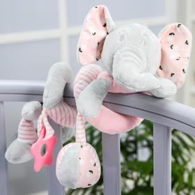 """Stretch-spiral soft with a rattle on the crib / stroller """" Elephant pink»"""