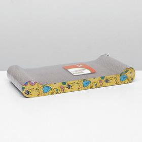 Гофрокогтеточка с валиками, 44 х 21 х 6 см (толщина 4 см) микс рисунков
