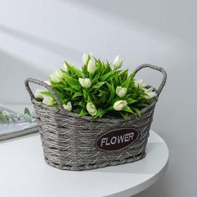 Кашпо плетеное «Луция», 27×15,5×15,5 см, корзинка, цвет серый