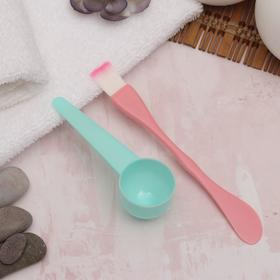 Set of d / masks 2PR: brush-spatula 15.5*2cm, mern spoon 10.5*3.5 cm mix package QF