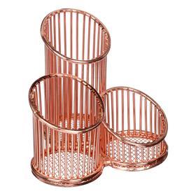 Подставка для пишущих принадлежностей метал deVENTE 3 секции Gold Rose, роз зол 4104008