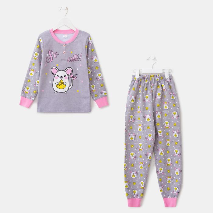 Пижама для девочки, цвет серый меланж, рост 104 см - фото 2023021