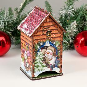 Чайный домик/ копилка, рыжее дерево, 16,5х10х9,2 см