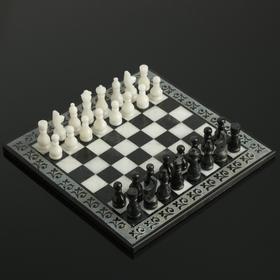 Шахматы, 25х25 см, оникс, тёмный узор
