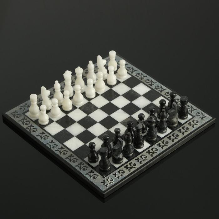 Шахматы, 25х25 см, оникс, тёмный узор - фото 763274