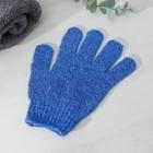 Мочалка-перчатка массажная однотонная, цвета МИКС