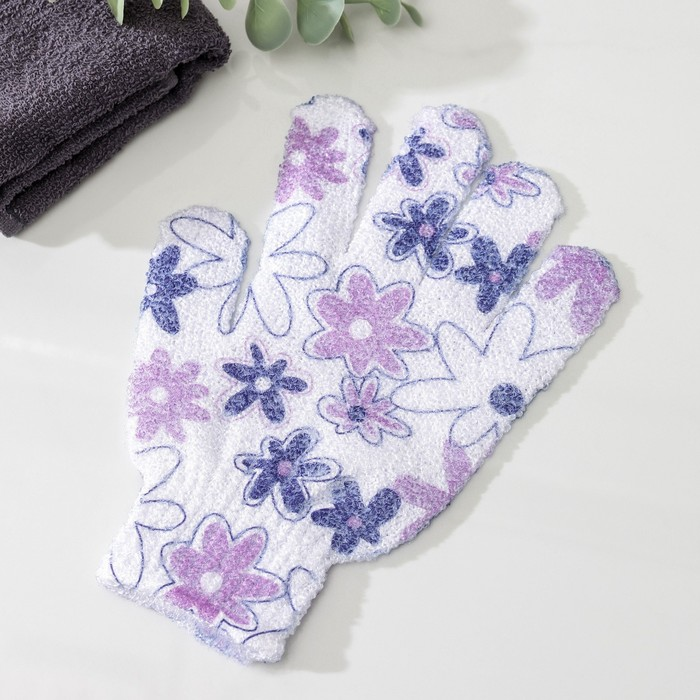 Мочалка-перчатка массажная Доляна, 14×18 см, цвет МИКС - фото 7930220
