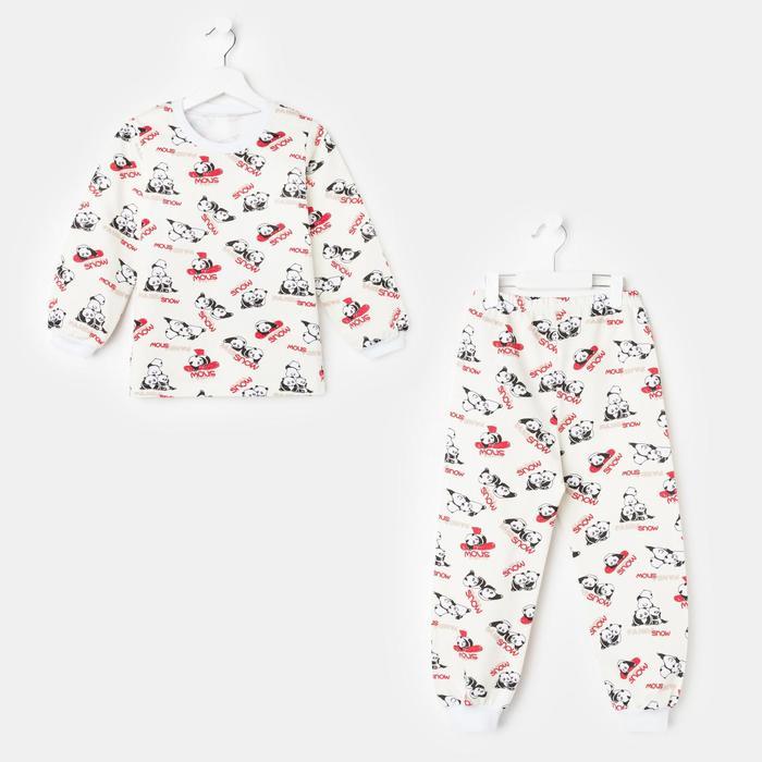 Пижама детская, цвет молочный/панды, рост 116-122 см - фото 2022904