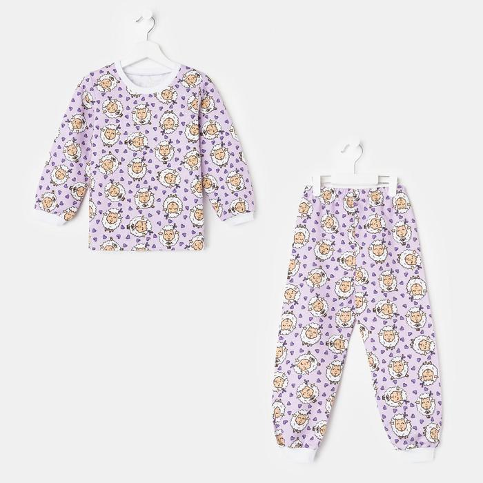 Пижама детская НАЧЁС, цвет сиреневый/рис. овечки, рост 98-104 см - фото 76706174