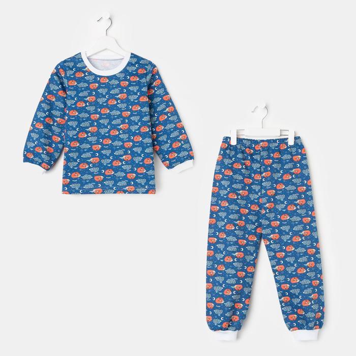 Пижама детская, цвет синий/лиса, рост 110-116 см - фото 2022931