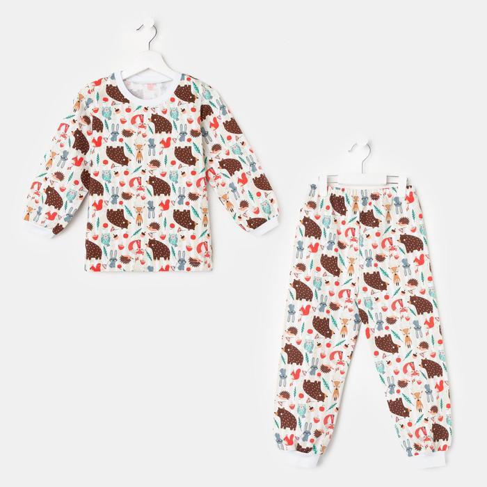 Пижама детская НАЧЁС, цвет молочный/рис. звери, рост 116-122 см - фото 76706198