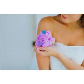 Мочалка для тела с поролоном, 30 г, цвета МИКС