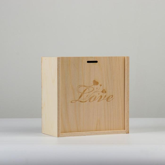"""Коробка пенал подарочная деревянная, 20×20×10 см """"Love"""", гравировка - фото 856058"""
